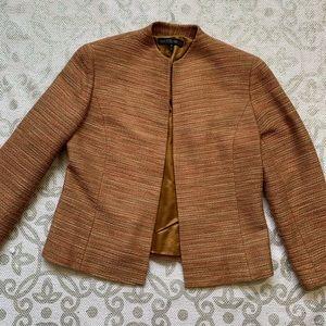 Lafayette 148 Pink Tweed Wool Open Front Blazer
